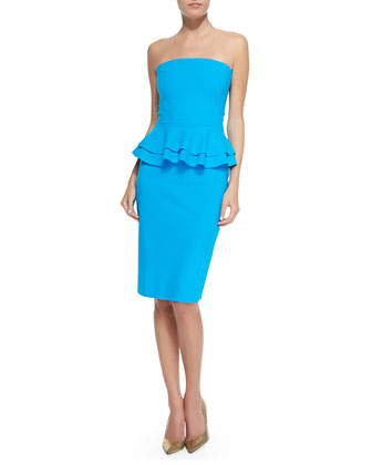 Madison Halter-Neck Cocktail Dress W/ Peplum