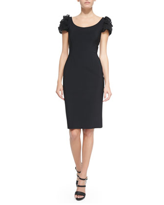 Pupa Puffed Illusion-Sleeve Cocktail Dress