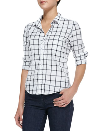 Barry Long-Sleeve Windowpane-Print Blouse, White/Black