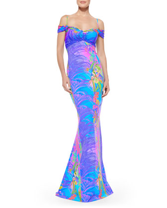 Gardenia Printed Off-the-Shoulder Gown