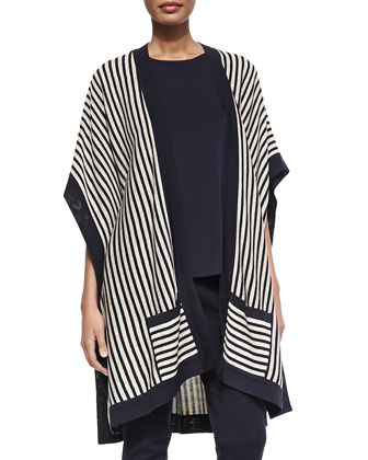 Striped Open Kimono Cardigan, Sleeveless Long Tank & Seamed Slim Pants, ...