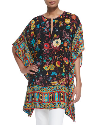 Odelia Printed Caftan Tunic & Tribal Graphic-Print Scarf, Women's