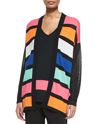 Striped Long Open Cardigan, Women's