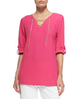 Cotton Pique Lace-Up Tunic, Petite