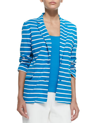 Striped Knit Jacket, Cotton Rib Tank & Ponte Slim Ankle Pants