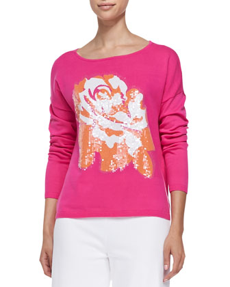 Sequined Floral Dolman-Sleeve Sweater, Petite