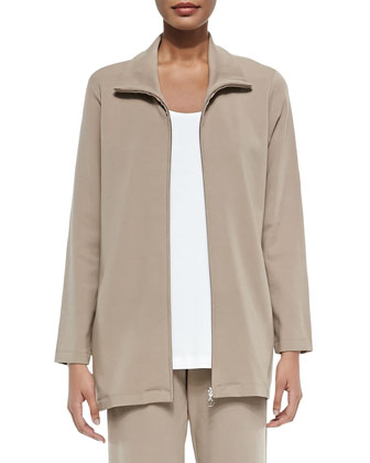 Long Knit Zip Jacket, Petite