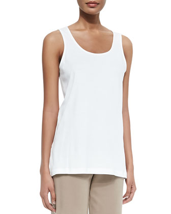 Scoop-Neck Cotton Interlock Tank, White, Women's