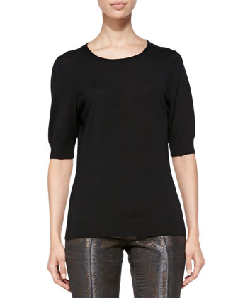 Half-Sleeve Merino Top, Black