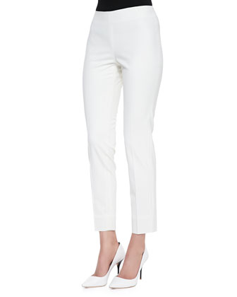 Stretch Wool Ankle Pants, Ivory