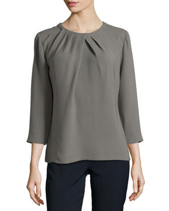 Nikola Pleated Silk Blouse, Shale