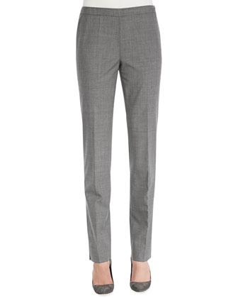Melange Wool-Stretch Pants, Nickel