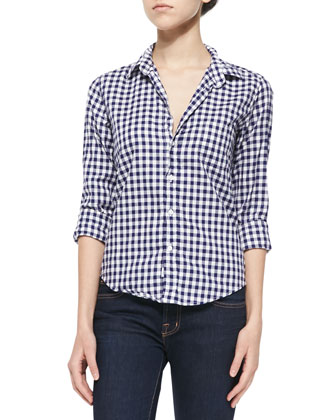 Long-Sleeve Cotton Gingham Shirt