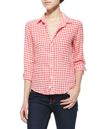 Long-Sleeve Linen Check Shirt