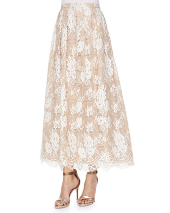 Cap-Sleeve Beaded Cropped Top & Lace Beaded Tea-Length Skirt