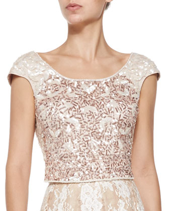 Cap-Sleeve Beaded Cropped Top