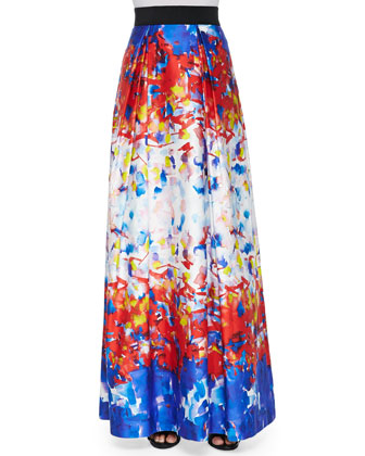 Fil Coupe Illusion Crop Top & Katie Watercolor-Print Maxi Skirt