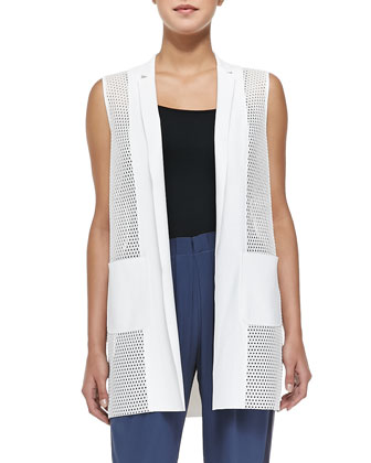 Tonya Mesh-Net Long Vest & Gemma Colorblock Silk Track Pants