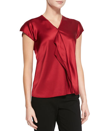 Silk Ruffle-Front Blouse, Snapdragon