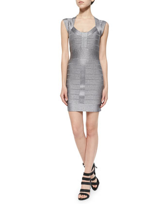 Spotlight Cap-Sleeve Metallic Bandage Dress