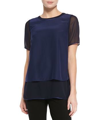 Bryn Silk Short-Sleeve Blouse