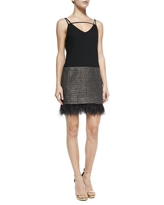 Cazr Sleeveless Feather-Hem Dress