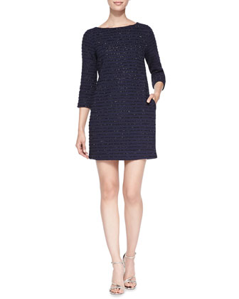 Sadie 3/4-Sleeve Dress W/ Embellished Stripes
