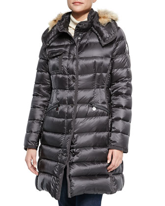 Hermico Puffer Coat with Fur Trim, Charcoal