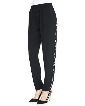 Claire Pull-On Pants W/ Embellished Sides