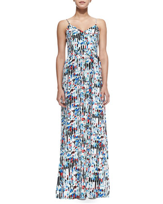 Niko Striped/Floral-Print Maxi Dress