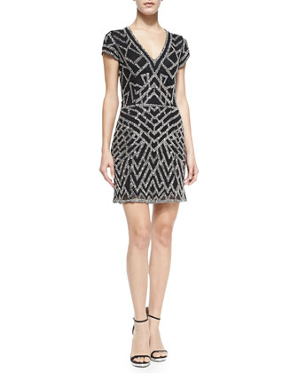 Serena Short-Sleeve Beaded Deco Dress, Black