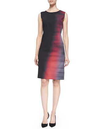 Emory Sleeveless Abstract Ombre Sheath Dress