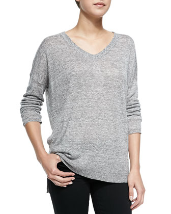 V-Neck Linen Sweater, Gray