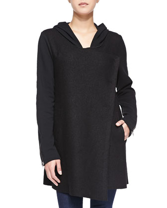 Long-Sleeve Hooded Tunic W/ Zip Cuffs
