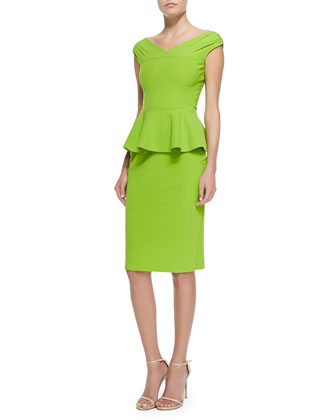 Mariarita Cap-Sleeve Cocktail Dress W/ Peplum
