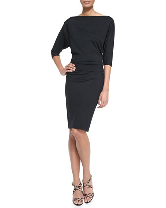 Pina 3/4-Sleeve Dress W/ Blouson Top