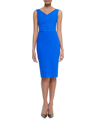 Solomy Sleeveless Draped-Bodice Cocktail Dress