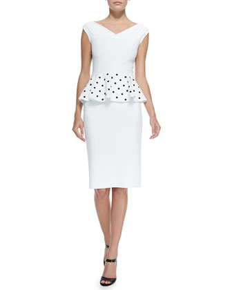 Mariarita Cocktail Dress W/ Polka Dot Peplum