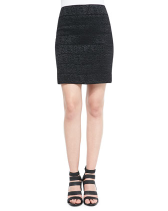 Textured Back-Zip Mini Skirt