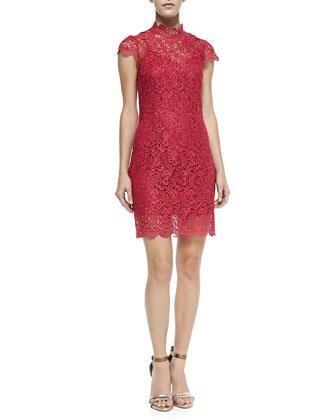 Short-Sleeve Scalloped Lace Dress