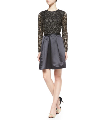 Freeya Long-Sleeve Lace-Top Cocktail Dress