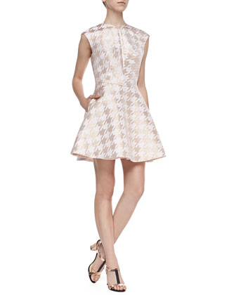 Isslay Metallic Houndstooth Fit-and-Flare Dress, Straw