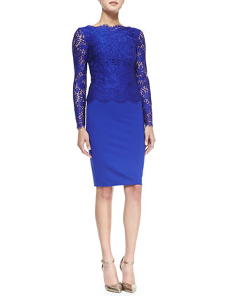 Vendela Long-Sleeve Lace-Top Sheath Dress