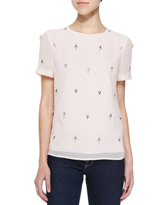 Whitnee Short-Sleeve Top W/ Embellished Front