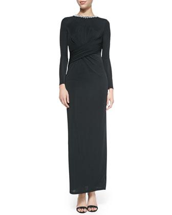 Karynne Long-Sleeve Dress W/ Cross Front