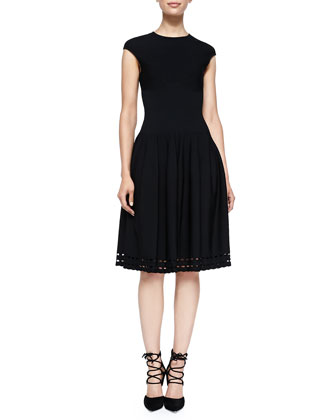 Cap-Sleeve Dress with Eyelet Skirt, Black
