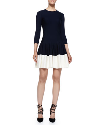Jewel-Neck Drop-Waist Dress, Navy/White