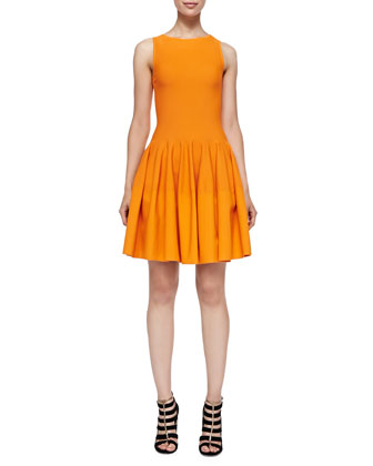 Sleeveless Drop-Waist Dress, Orange