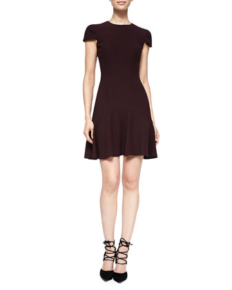 Seamed Dress with Peplum Skirt, Burgundy