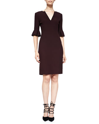 Pleated Tulip-Sleeve Dress, Burgundy
